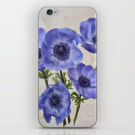 Pretty Periwinkle Poppies iPhone Skin