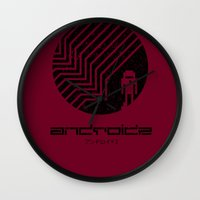 android Wall Clocks featuring Android by Slippytee Clothing