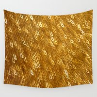 gold glitter Wall Tapestries featuring Gold Glitter 1324 by Cecilie Karoline