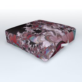 Strawberry Cream Moons Fractal Outdoor Floor Cushion