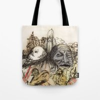 soviet Tote Bags featuring Soviet Monuments by Jess Worby