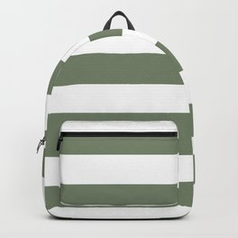 Camouflage green - solid color - white stripes pattern Backpack
