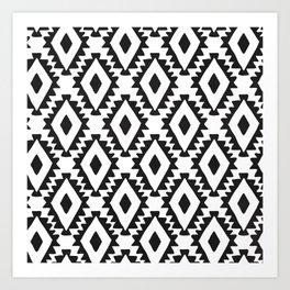 Aztec geometrics - B&W Art Print