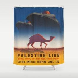 Vintage poster - Palestine Line Shower Curtain