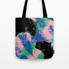 Panthers with palm leaves Tote Bag