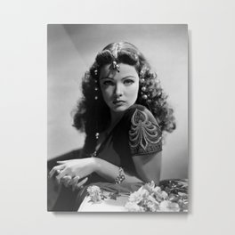 Gene Tierney, Hollywood Starlet black and white photograph / black and white photography Metal Print