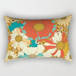 Red, Orange, Turquoise & Brown Retro Floral Pattern Rectangular Pillow