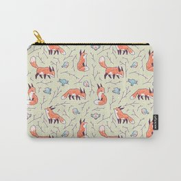 Fox and Bird Pattern Carry-All Pouch