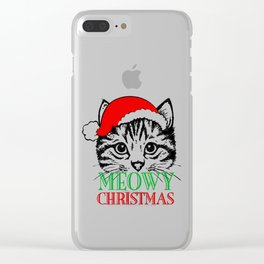Meowy Christmas Merry Cat Kitten Ugly Clear iPhone Case