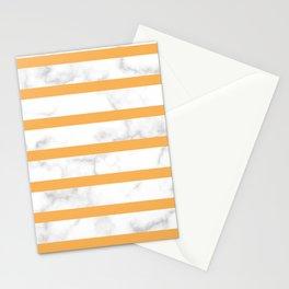 marble horizontal stripe pattern yellow Stationery Cards