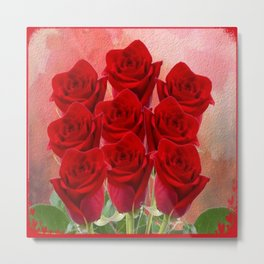 Forever My Love - Red Roses With Hearts Metal Print