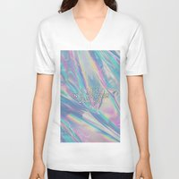 hologram V-neck T-shirts featuring I LIVE IN A HOLOGRAM WITH YOU... by Beauty Killer Art
