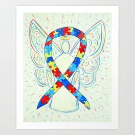 Autism Puzzle Piece Awareness Ribbon Angel Art Painting Art Print