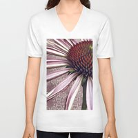 chic V-neck T-shirts featuring coneflower chic by inourgardentoo