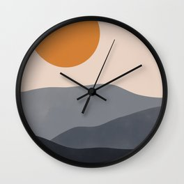Sunset Over Mountains Wall Clock