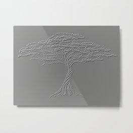 Silver Tree of Life , Zen African Bonsai Grey Metal Print