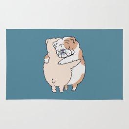 English Bulldog Hugs Rug