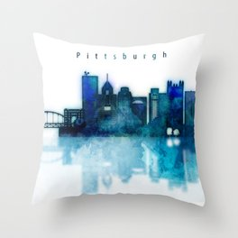 Watercolor cityscape of Pittsburgh city Throw Pillow