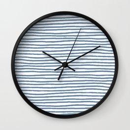 Baesic Horizontal Lines (Denim) Wall Clock