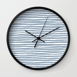 Baesic Horizontal Lines (Denim) Wall Clock