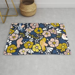 Blue wellness garden - florals matching to design for a happy life Rug