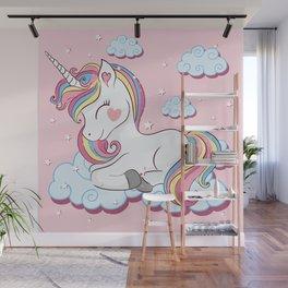 Cute unicorn illustration. Wall Mural