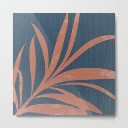 Blue Abstract Leaf Metal Print