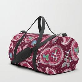 Christmas Paisley with Holly, Mistletoe and Poinsettia / Burgundy Duffle Bag