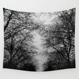 black and white trees Wall Tapestry