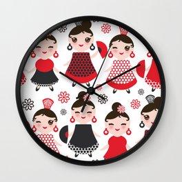 Seamless pattern spanish Woman flamenco dancer. Kawaii cute face with pink cheeks and winking eyes. Wall Clock