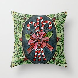 Candy Canes and Holly Throw Pillow