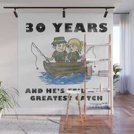 Anniversary 30 Couple Fishing Wife Husband Gift Wall Mural