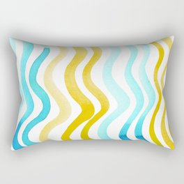 Wavy lines - yellow and blue Rectangular Pillow