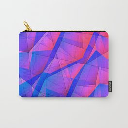Bright contrasting fragments of crystals on irregularly shaped blue and pink triangles. Carry-All Pouch