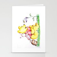 piglet Stationery Cards featuring Winnie the Pooh & Piglet by laura nye.
