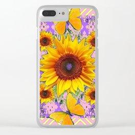 Purple Yellow Pattern  Butterflies Sunflowers Flowers Art Clear iPhone Case