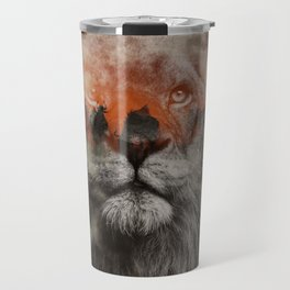 Lion In Fog Travel Mug