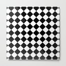 Contemporary Black & White Gingham Pattern - Mix and Match Metal Print