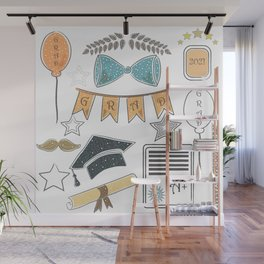 Graduation Package. Dark Background with rich golden graduation elements Wall Mural