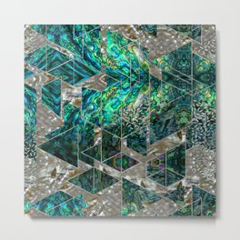 Abstract Geometric Abalone and Mother of pearl Metal Print
