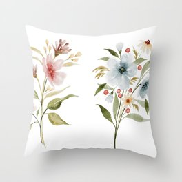 Two Tiny Bouquets Throw Pillow