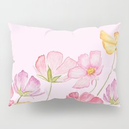 colorful cosmos flwoer in pink background Pillow Sham