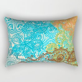 Indian boho pattern with ornament in blue, ornage and green Rectangular Pillow