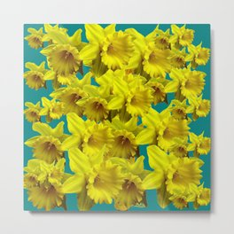YELLOW SPRING DAFFODILS ON TEAL COLOR ART Metal Print