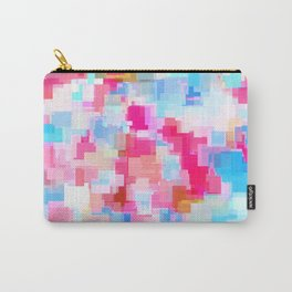 geometric square pattern abstract background in pink and blue Carry-All Pouch