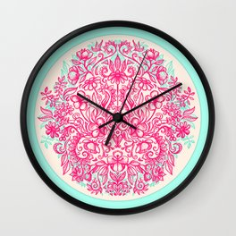 Spring Arrangement - floral doodle in pink & mint Wall Clock