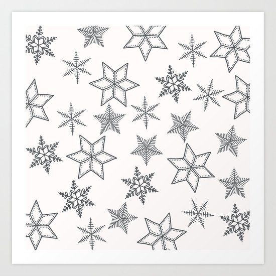 Grey Snowflakes On White Background Art Print