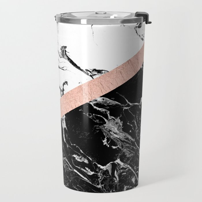 Modern black white marble color block rose gold Travel Mug