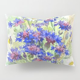 Meadow watercolor flowers with cornflowers Pillow Sham