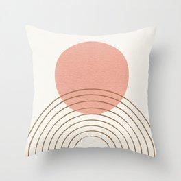 Pink Sun Mid-Century Full Throw Pillow